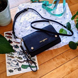 Karl Lagerfeld Black/Silver Leather Crossbody Bag